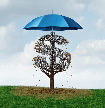 protectionism: Economic protectionism policy and financial closed trade restrictions as a tree shaped as a money dollar sign losing leaves due to a security umbrella blocking needed sun and rain resulting in business damage and disadvantage.