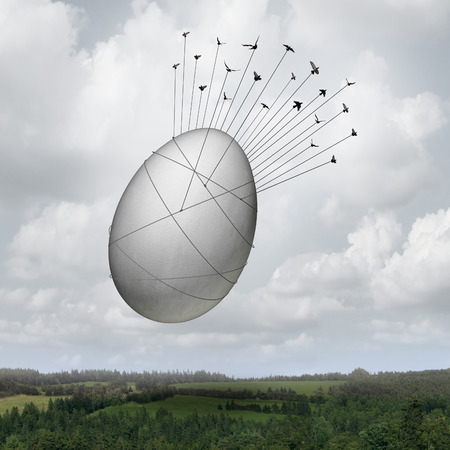 team effort: Common goal business concept as a collective team of birds pulling a giant egg with ropes as a financial security symbol and a metaphor for working together for an investing group or company pension teamwork success. Stock Photo