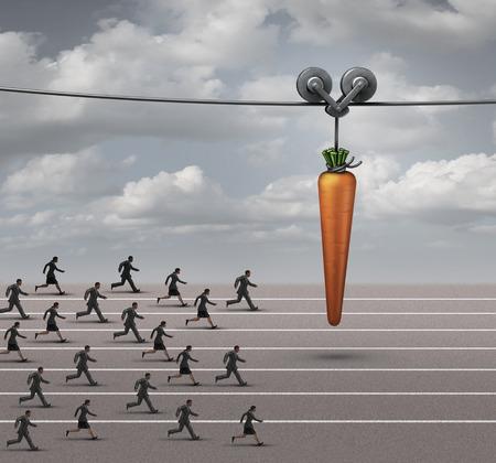 Concepto de negocio de incentivos para empleados como un grupo de empresarios y empresarias que se ejecutan en una pista hacia una zanahoria que cuelga en un cable en movimiento como una metáfora de recompensa financiera para motivar a un objetivo. Foto de archivo