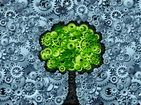 cog: Business tree concept as a symbol for a growing economy and industry represented by machine gears and cog wheels shaped as a growing plant with green leaves as an icon of success in industry activity.