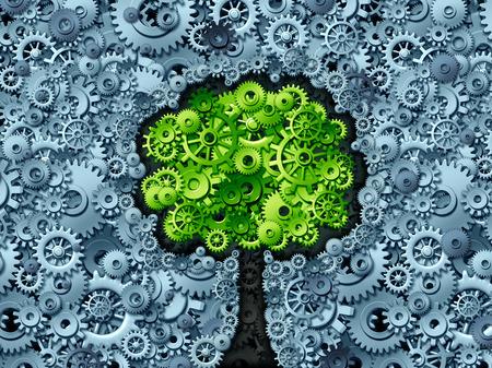 industriales: Negocios concepto de árbol como símbolo de una economía en crecimiento y la industria representada por los engranajes de la máquina y ruedas dentadas en forma como una planta que crece con hojas verdes como un icono de éxito en la actividad de la industria.
