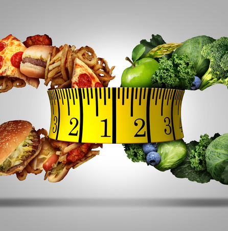 diet concept: Measure diet tape food choice concept as a nutrition lifestyle symbol as a group of fruits and vegetables and greasy junk food shaped as a chain link linked together by human fitness measuring equipment.