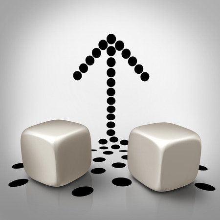 speculate: Dice arrow concept as a business symbol for taking control and increasing the odds of success for winning or planning a strategy to speculate on a new opportunity as the black pips or dots falling off the blank cubes to form a shape pointing up.