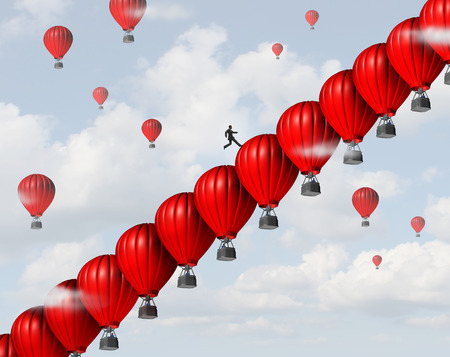 management: Business management success leadership concept as a group of red air balloons stacked in a staircase or stairs formation so a businessman leader can climb steps towards a financial or career goal as a creative support metaphor.