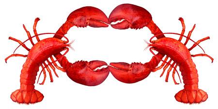 ロブスター空白記号爪は、白い背景で隔離赤いシェル甲殻類の新鮮な魚やシーフードのメッセージと貝食品のコンセプトとしてコピー スペースを持