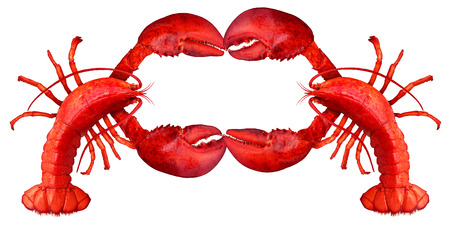Lobster blank sign with claws creating a frame with copy space as a fresh fish or seafood message and shellfish food concept with a red shell crustacean isolated on a white background.
