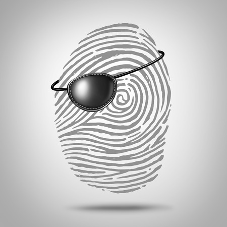 personal data privacy issues: Privacy piracy concept and identity theft symbol as a finger print or fingerprint icon with a pirate eye patch as a private data security metaphor for online personal information risk.