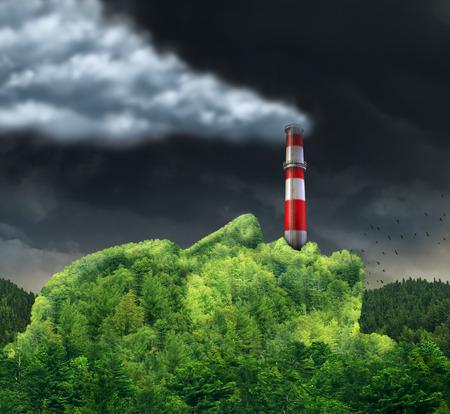 medio ambiente: Concepto de la contaminación y el medio ambiente cambian causando el calentamiento global como una idea del medio ambiente surrealista con una forma de una cabeza humana con una pila de humo industrial en la boca liberando humo tóxico peligroso en el aire de la montaña verde.