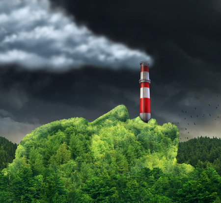 environment: Pollution concept and environment change causing global warming as a surreal environmental idea with a green mountain shaped as a human head with an industrial smoke stack in the mouth releasing dangerous toxic smoke in the air. Stock Photo