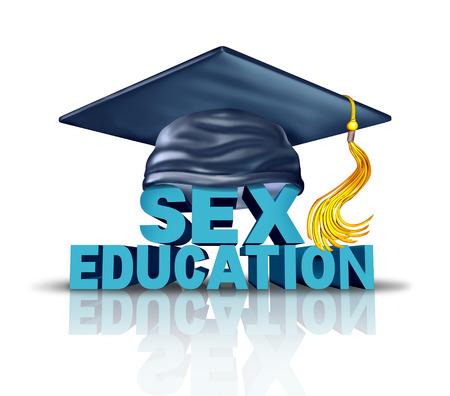 sexual education: La educación sexual y el programa de aprendizaje de la salud sexual en un concepto de currículo escolar como texto con un sombrero de graduación como un símbolo de la educación sexual para los adolescentes y las adolescentes para la prevención de problemas de enfermedades de transmisión sexual y el riesgo de embarazo.
