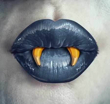 Vampire creativiteit concept als de lippen van een zombie karakter met potloden in de vorm van puntige hoektanden represeting strategisch creatief denken in marketing en reclame strategie of een metafoor voor Halloween creatief denken. Stockfoto