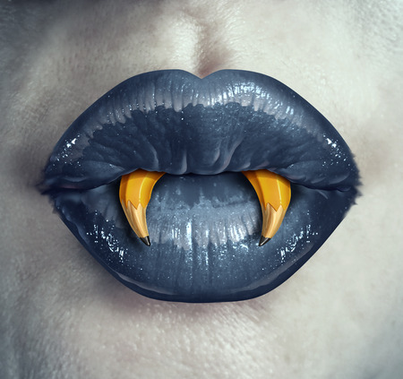 creative: Vampire creativity concept as the lips of a zombie character with pencils shaped as pointy fangs represeting strategic creative thinking in marketing and advertising strategy or a metaphor for halloween creative thinking.