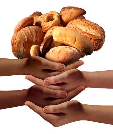 Communauté nourrir le concept d'assistance pauvres avec un groupe de mains de bienfaisance représentant divers groupes de personnes qui coopèrent ensemble pour fournir du pain ou de la nourriture pour les affamés et les nécessiteux de la société. Banque d'images - 44158837