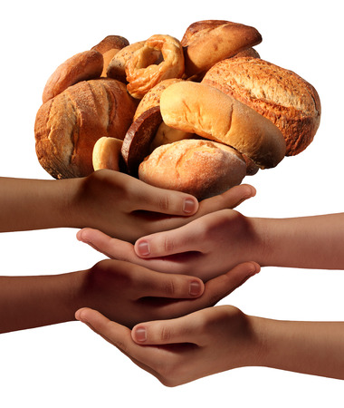 charitable: Community feed the poor assistance concept with a group of charitable hands representing diverse groups of people cooperating together to provide bread or food to the hungry and needy of society.