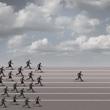 Winnen van de race business concept als een groep van ondernemers die samen met een individuele zakenman weg te breken uit het peloton richting de finse lijn als een succes metafoor. Redactioneel