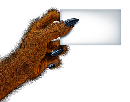 freaky: Werewolf hand holding a blank card sign as a creepy creature for halloween or scary symbol with textured hairy and textured skin with cursed wolf monster fingers on a white background.