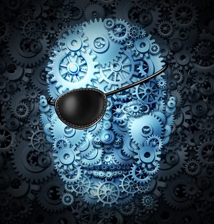 robot head: Robot revolution technology concept as a mechanical human as a bionic person with artificial intelligence or AI computing ability wearing a pirate eyepatch or eye patch as a symbol for the danger and risk of future advanced technologies.