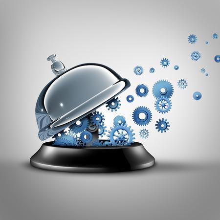 communication: Hôtellerie et de l'entreprise de services comme une métaphore objet d'une cloche de service ouvert avec des engrenages et pignons émergeant d'un hall de réception de l'hôtel comme un symbole pour communiquer avec de bons services à la clientèle.