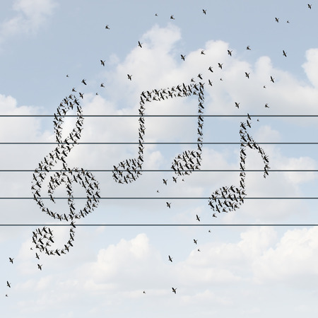 distribution: Music concept and recorded media distribution symbol as birds flying together shaped as musical notes as a metaphor for enjoying a melody or distributing songs on the internet or radio with an online wireless service.