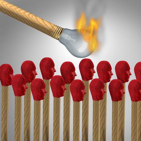 konzepte: Ideen, die am Konzept als virales Marketing-Symbol zu fangen und zu verbreiten eine populäre Idee oder Propaganda und Gehirnwäsche sozialen Kommunikationssymbol als eine beleuchtete, wie eine Glühbirne Beleuchtungs matchshaped eine Gruppe von anderen Spielen, wie Menschenköpfe geformt. Lizenzfreie Bilder