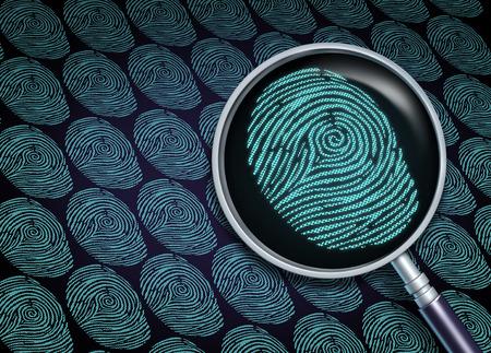 inteligencia: Identidad concepto de búsqueda o elegir el empleado derecho como el reclutamiento y el símbolo de los recursos humanos con una lupa en un primer plano de una huella dactilar o huella digital como una metáfora tecnología de la información de seguridad.