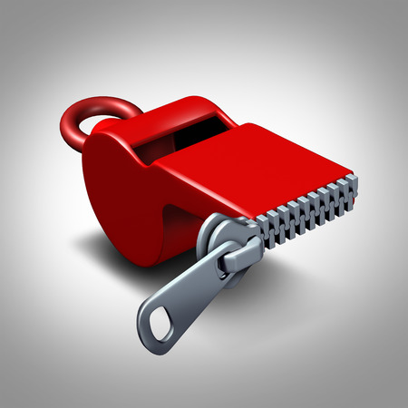 Whistleblower silence concept or intimidation symbol and whistle blower silenced to stay quiet as pressure to expose corruption as a red whistler with a closed zipper. Archivio Fotografico