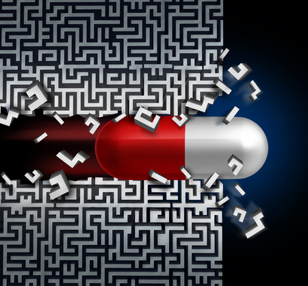 Concetto di innovazione medica e un successo simbolo scoperta farmaco come soluzione sanità medicina con una pillola capsula di rottura attraverso un labirinto o un labirinto. Archivio Fotografico - 44185370
