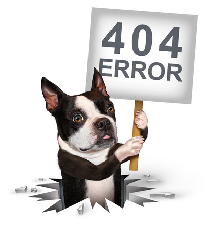 404 error page not found concept and a broken or dead link symbol as a dog emerging from a hole holding a sign with text for breaking the network connection resulting in internet search problems. Stock Photo