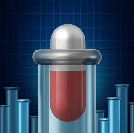 finding the cure: Medicine science and the pharmaceutical industry research symbol as a giant medication pill inside an experimental beacon or test tube glass container as a medical biotechnology concept for finding a cure through chemistry and technology.