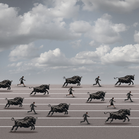 bull market: Bull run business concept as a symbol for growing stock market profit and economy recovery as a group of bull animals racing and charging with a team of businesspeople on a race track towards success but with risk.