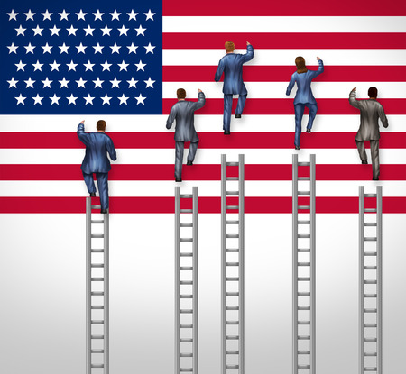 election debate: American election concept as a group of candidates from the United States campaigning for president or government elected position as nominees for the democratic or republican party climbing the USA flag as a ladder to leadership victory. Stock Photo