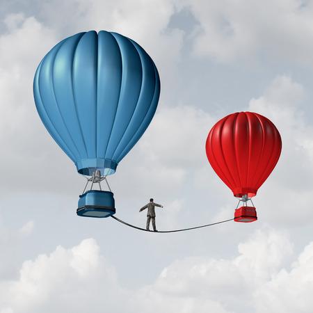 Uitdaging verandering en voorzichtigheid zaken motieven concept persoon die op een strakke koord hoge draad van het ene hete luchtballon naar een ander als het nemen van risico en gevaar metafoor voor het veranderen van positie of carrière. Stockfoto - 44492775