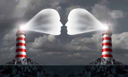 Partner-Kommunikation Business-Konzept in zwei Leuchtturm auf See errichteten Bauwerken wie menschliche Köpfe kommunizieren gemeinsam für Handelserfolg oder als Überseehandel Treffen geheim eheliche Affäre Symbol geformt. Standard-Bild - 44492782