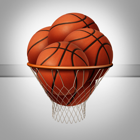 success concept: Prosperity concept and over the top success symbol as a group of basketballs inside a basketball net as an icon for exessive profit as a business metaphor.
