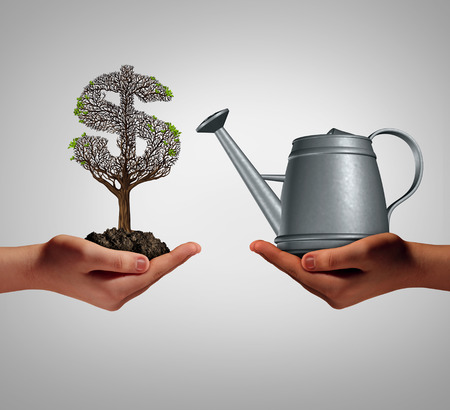 tree service business: Financial assistance and business help concept as two hands holding a watering can and a struggling money tree as a budget aid relief symbol for investing in growth support service and helping a struggling economy. Stock Photo
