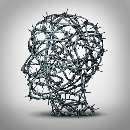 dictatorship: Tortured thinking and depression concept as a group of tangled barbwire or barbed wire fence shaped as a human head as a metaphor for psychological or psychiatric condition of suffering and victim of oppression or mental illness.