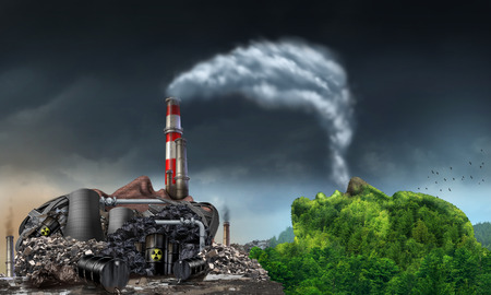 chimneys: Industry pollution environment concept as a human head shaped as a dirty power plant releasing toxic waste in the water and smoke stacks with plumes of dirty smoke being breathed by a green natural mountain in the shape of a face.