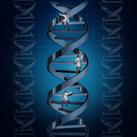 discover: Genome medical research and genetic technology discoveries with a group of doctors or scientists climbing a DNA strand to discover a cure for human disease as a symbol of health care medicine and biotechnology.