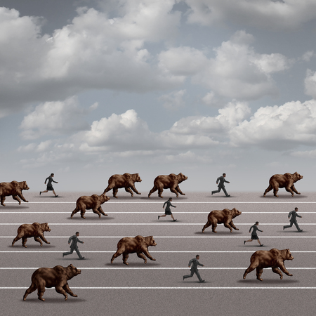 bearish market: Bear market run business concept as a symbol for declining stock market loss and economy risk as a group of bears racing and charging with running fearful people as a heard mentality on a race track. Stock Photo
