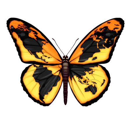 Global Butterfly symbool voor het milieu of migrant crisis vluchtelingen te ontsnappen naar de vrijheid van de wereld crisisgebieden als trekkende insect met een kaart van de aarde als een metafoor voor internationale sociale en ecologische hoop.