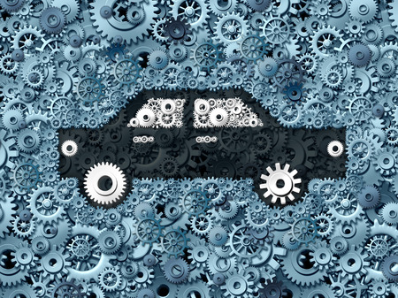 industry: Automobile business and car industry concept as a group of gears shaped as a generic auto as a mechanic symbol or auto insurance industry transportation icon.