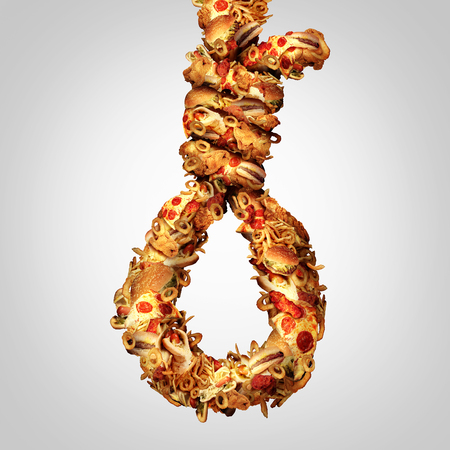 comida rapida: Concepto de la dieta soga como un grupo de grasa en forma de una cuerda del ahorcado como un símbolo de peligro nutricional colesterol y un problema social por el peligro de la obesidad de comida rápida y no comer sano.