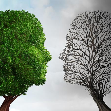 Sociale ecologie en milieu verandering of global warming concept van het milieu als een scène geknipt in twee met de helft met een gezonde groene groeiende plant en het tegenovergestelde van een dode boom in de vorm van een menselijk hoofd als gevolg van vervuiling. .