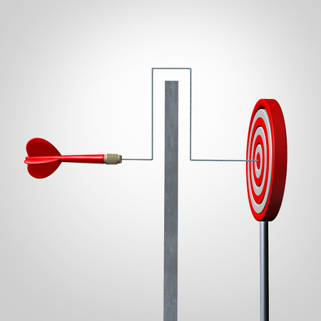 business symbols and metaphors: Around a barrier business concept as a red dart solving an obstacle problem by averting a wall and hitting the target as a success metaphor for agility and dexterity in achieving your goal. Stock Photo