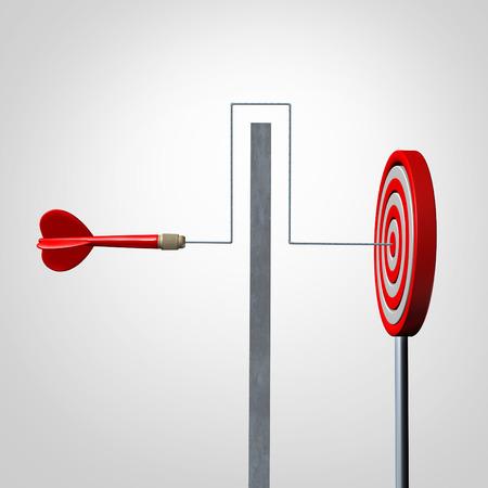 metas: En torno a un concepto de barrera de negocio como un dardo rojo resolver un problema de obst�culos por evitar una pared y dar en el blanco como una met�fora de �xito para la agilidad y destreza en el logro de su meta.