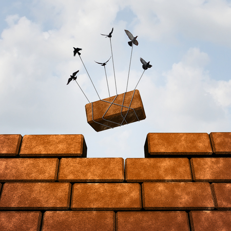 team working: Build a wall business concept as a group of birds placing a brick to complete a wall as a puzzle metaphor and working together symbol for creating a successful structure with organized strategy and  planning.