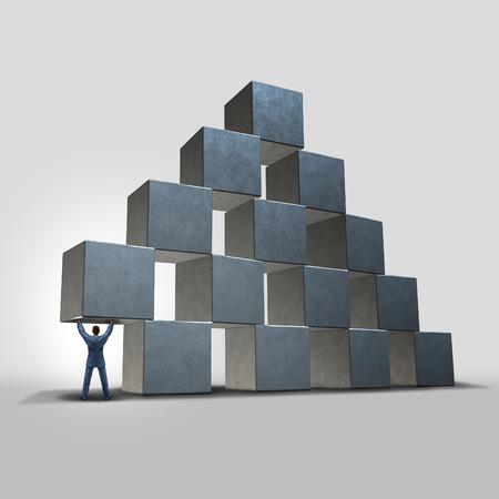 helping: Negocios ayuda concepto como un hombre de negocios la celebración y proporcionando importantes consejos urgente y apoyo a una organización representada por un grupo de bloques como un éxito y la metáfora de liderazgo.