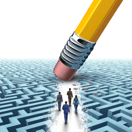solutions: Team business management as several businesspeople walking in a clear path on a maze or labyrinth as an eraser from a pencil creating a clear path to a successful company solution as a motivation metaphor.