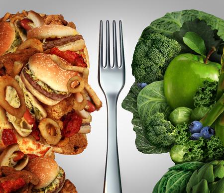 Voeding beslissing concept en het dieet keuzes dilemma tussen gezond goede verse groenten en fruit of vettig cholesterol rijke fast food in de vorm van een menselijk hoofd gedeeld door een vork als symbool voor het proberen om te beslissen wat te eten.