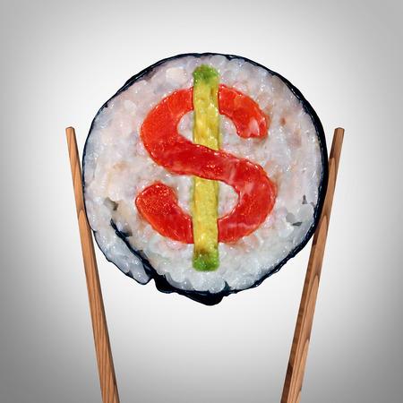 Affaires des restaurants et coûteux énorme symbole facture alimentaire ou trop cher étiquette de prix de manger comme un morceau de sushi frais détenus par des baguettes avec un signe de dollar l'intérieur du rouleau comme une icône pour le coût de divertissement ou d'un service de basculement.
